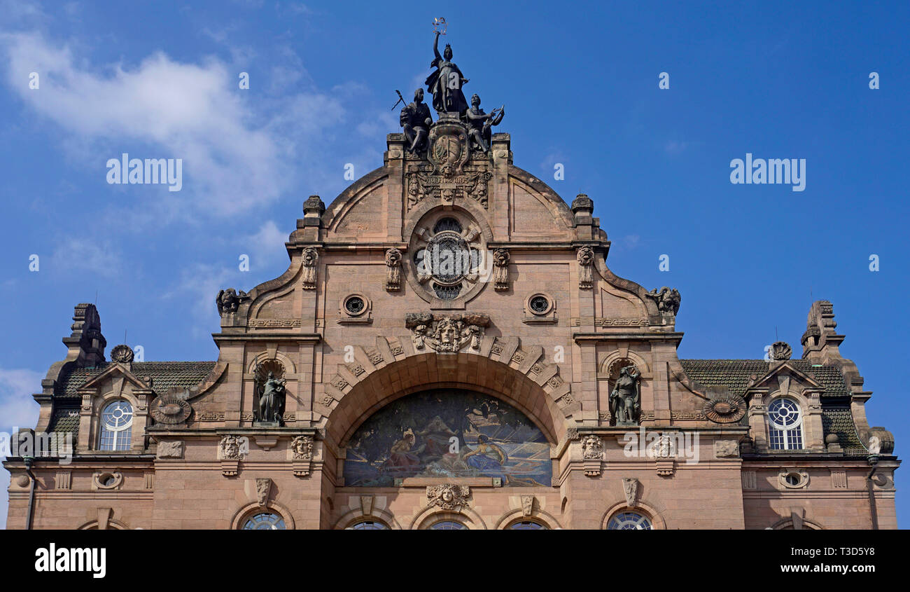Facade of Opera house, state theatre, art nouveau, Nuremberg, Franconia, Bavaria, Germany - Stock Image