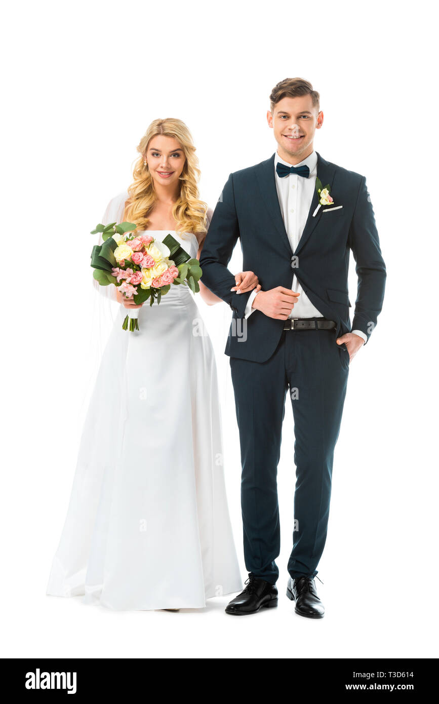 Beautiful Bride In White Wedding Dress And Handsome Groom In Black Suit Isolated On White Stock Photo Alamy,Casual Outdoor Wedding Dress Ideas