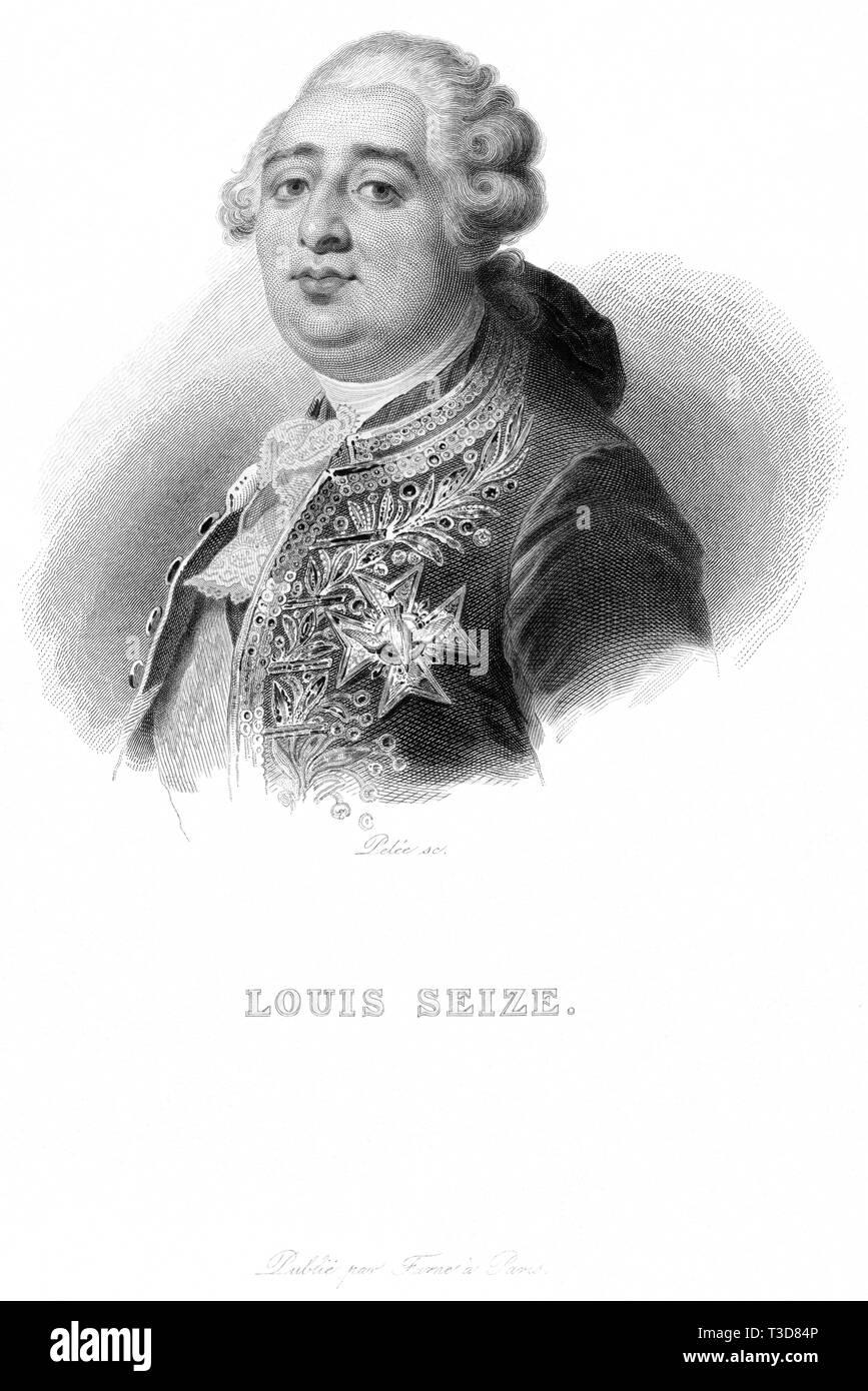Europa, Frankreich, Paris, französischer König Ludwig XVI. , Porträt, Kupferstich  von Pelée, wahrscheinlich 1810er - 1820er Jahre ? , herausgegeben v - Stock Image