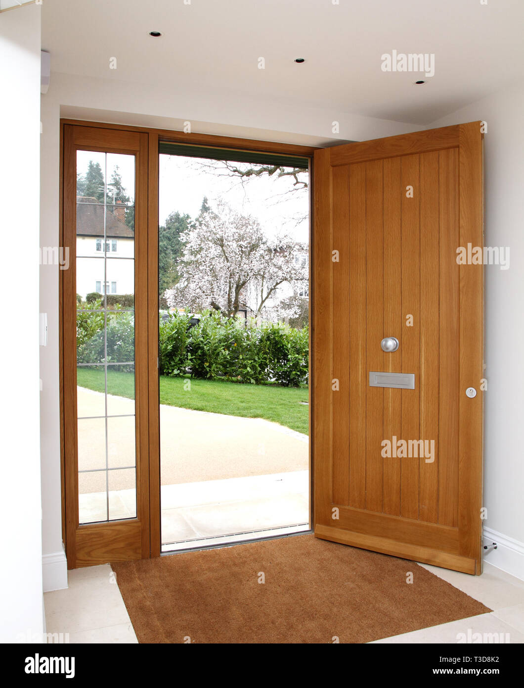 Lomax Wood Quality Front Door With Glass Side Panels Stock Photo Alamy