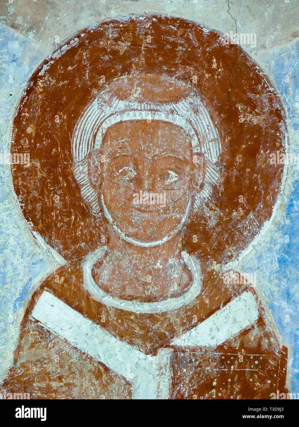 Romanesque fresco of an archbishop in Finja church, Sweden, Oct 07, 2009 - Stock Image