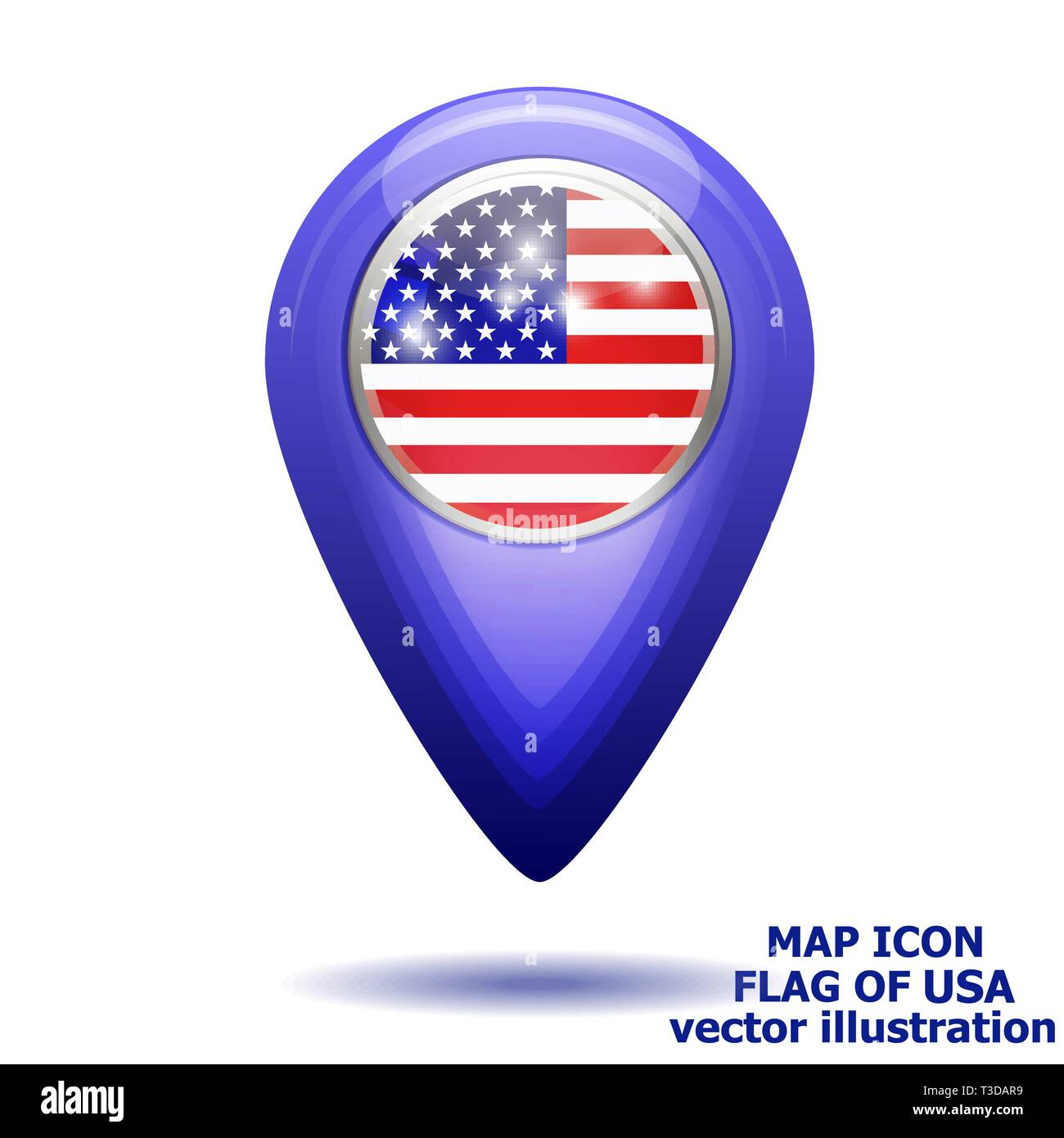 26dfe1a16d8c Bright map icon with map of USA. Location Icon vector. Vector illustration