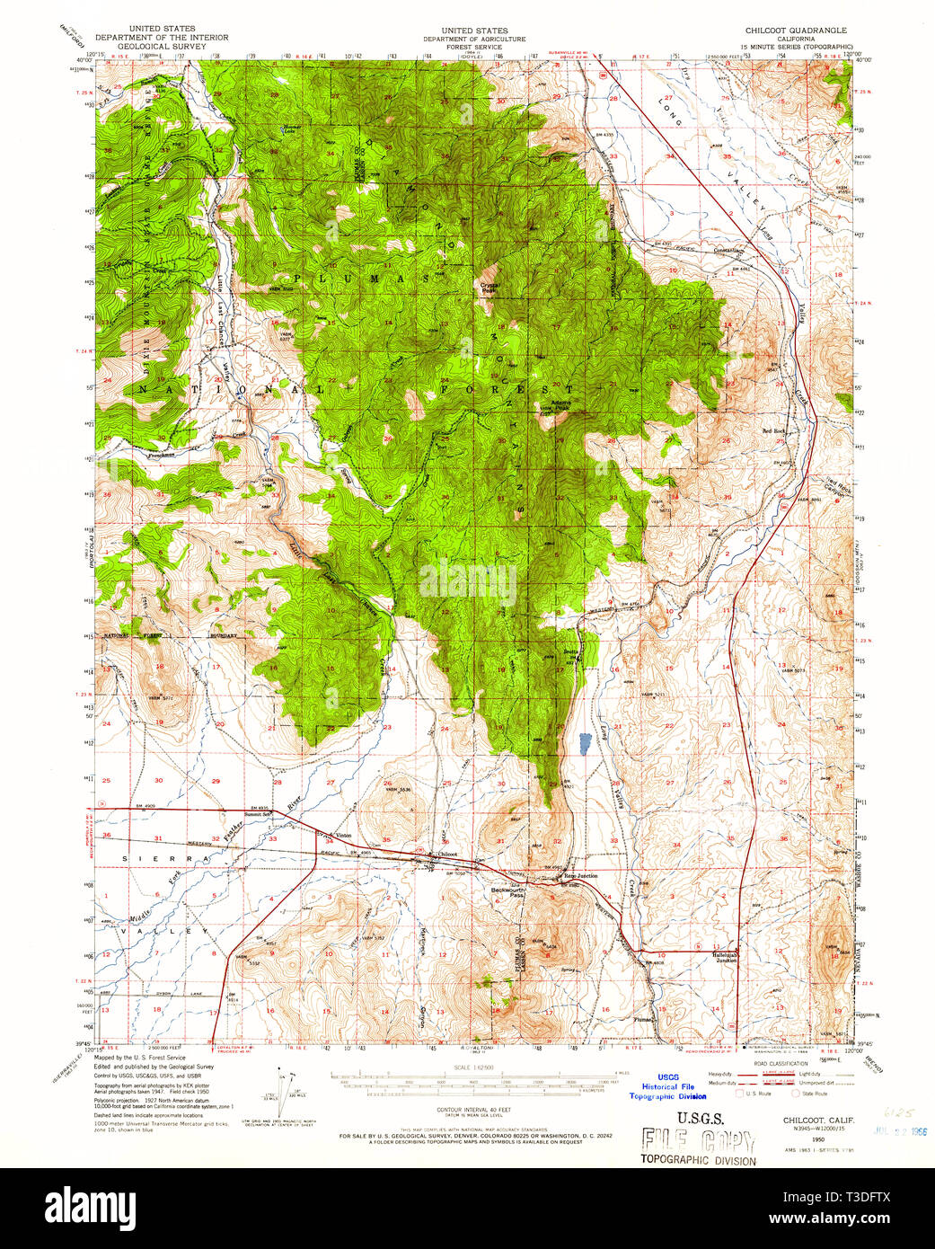 USGS TOPO Map California CA Chilcoot 297083 1950 62500 Restoration