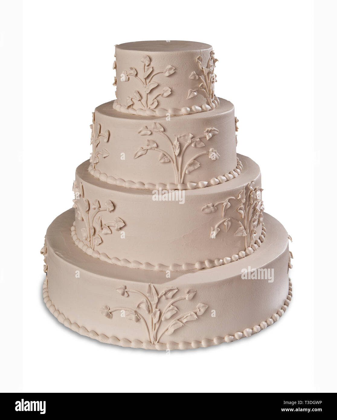 Ivory Tiered Wedding Cake - Stock Image