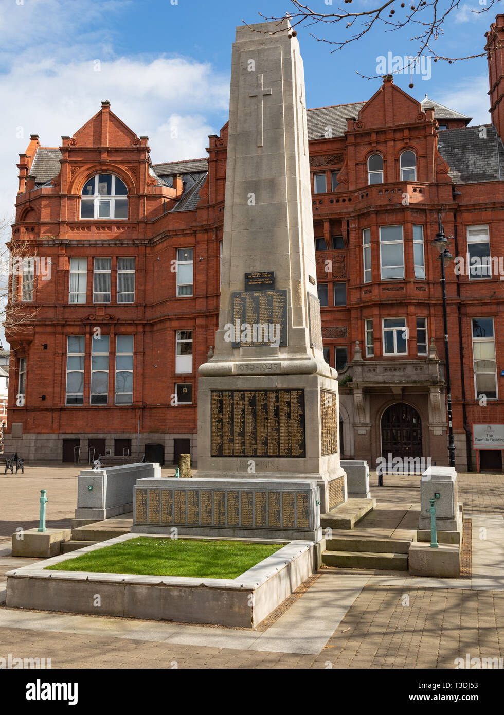 War memorial showing the names of those lost in the first world war Victoria Square St Helens Merseyside March 2019 Stock Photo