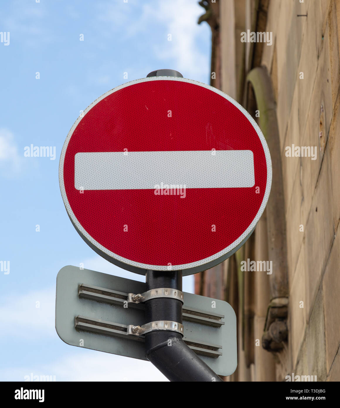 Red and white no entry street sign St Helens Lancashire March 2019 Stock Photo
