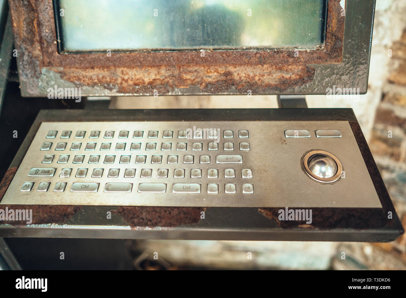 Very old computer, rusty keyboard with monitor Stock Photo