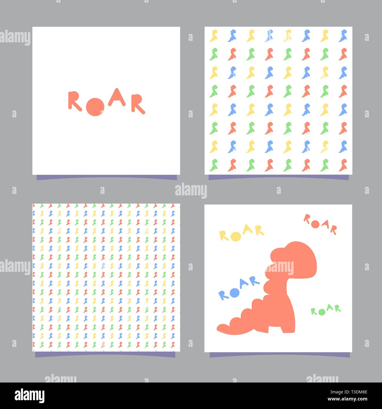 Cards with dinosaur and the word roar in the Scandinavian style. Isolated on white background. One seamless pattern with color dinosaurs. Vector - Stock Vector