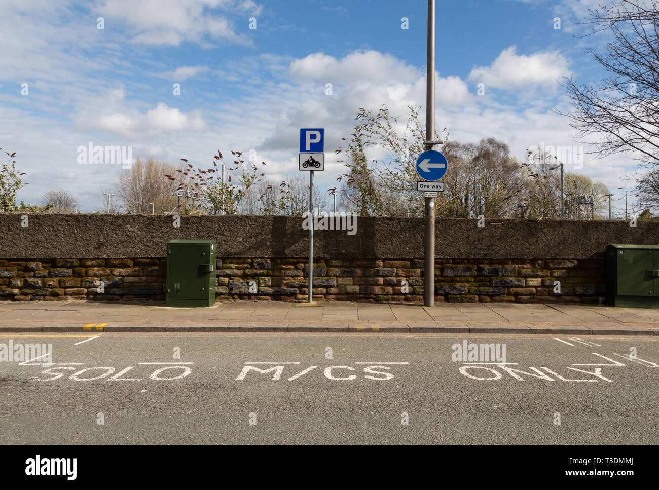 Roadside parking for solo motorcycles St Helens Merseyside March 2019 Stock Photo