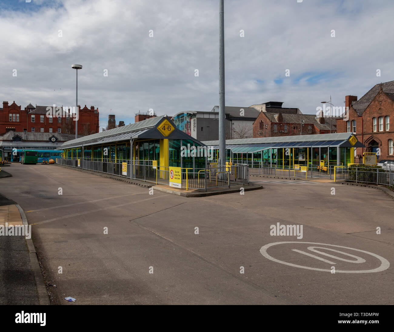 Exterior photo of St Helens Bus Station St Helens Merseyside March 2019 Stock Photo