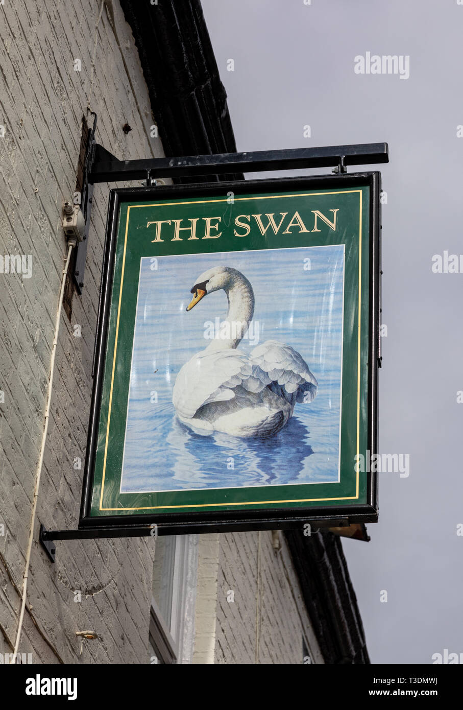 Exterior sign for The Swan public house St Helens Lancashire March 2019 Stock Photo