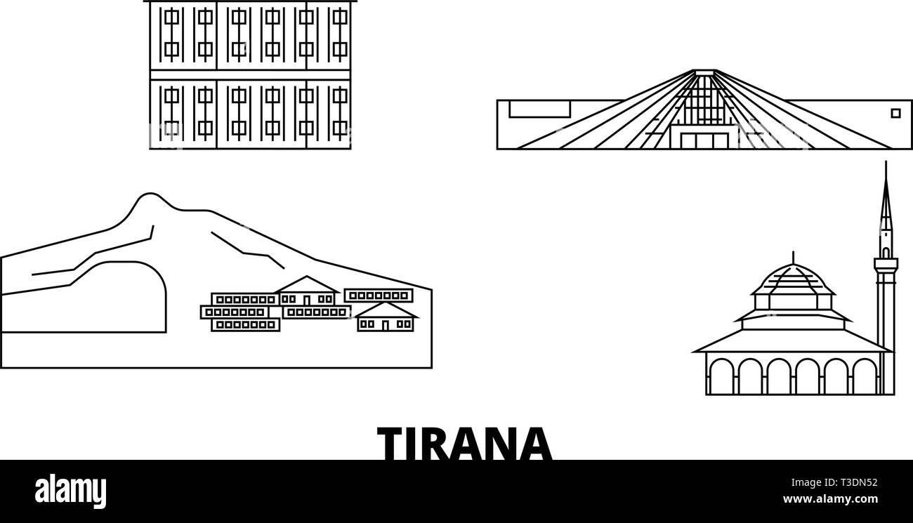 Albania, Tirana line travel skyline set. Albania, Tirana outline city vector illustration, symbol, travel sights, landmarks. - Stock Vector