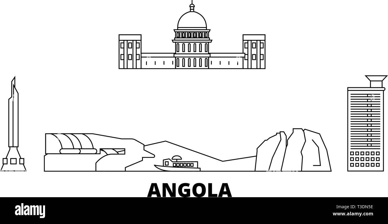 Angola  line travel skyline set. Angola  outline city vector illustration, symbol, travel sights, landmarks. - Stock Vector