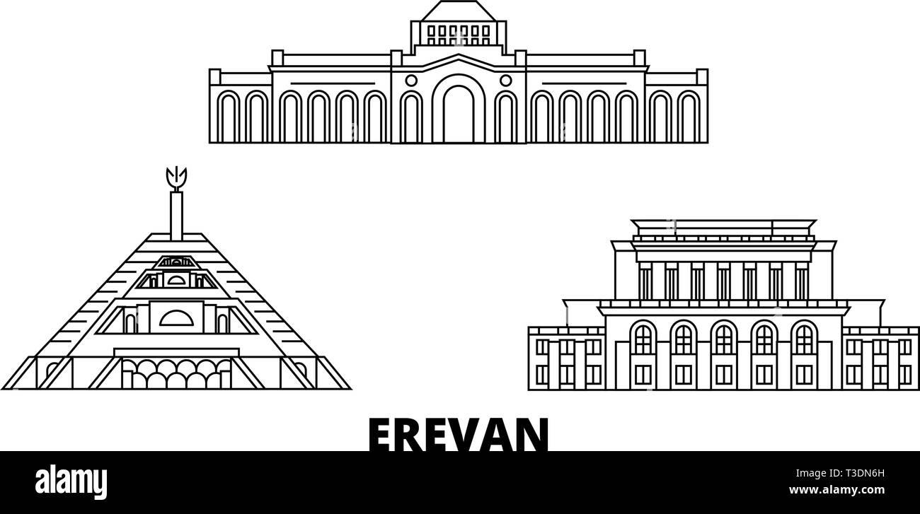 Armenia, Erevan line travel skyline set. Armenia, Erevan outline city vector illustration, symbol, travel sights, landmarks. - Stock Image