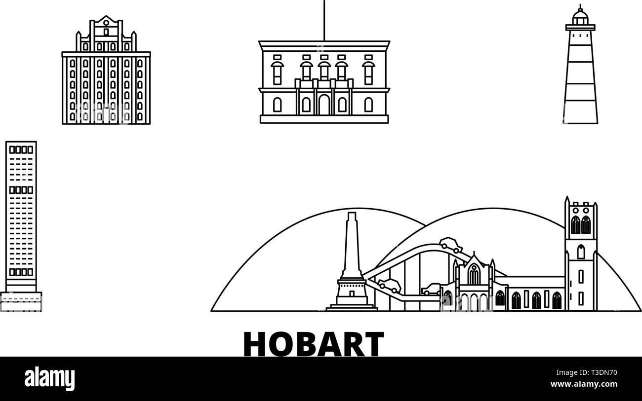 Australia, Hobart line travel skyline set. Australia, Hobart outline city vector illustration, symbol, travel sights, landmarks. - Stock Vector