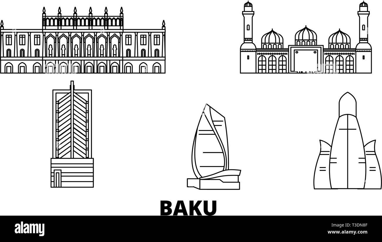 Azerbaijan, Baku line travel skyline set. Azerbaijan, Baku outline city vector illustration, symbol, travel sights, landmarks. - Stock Vector