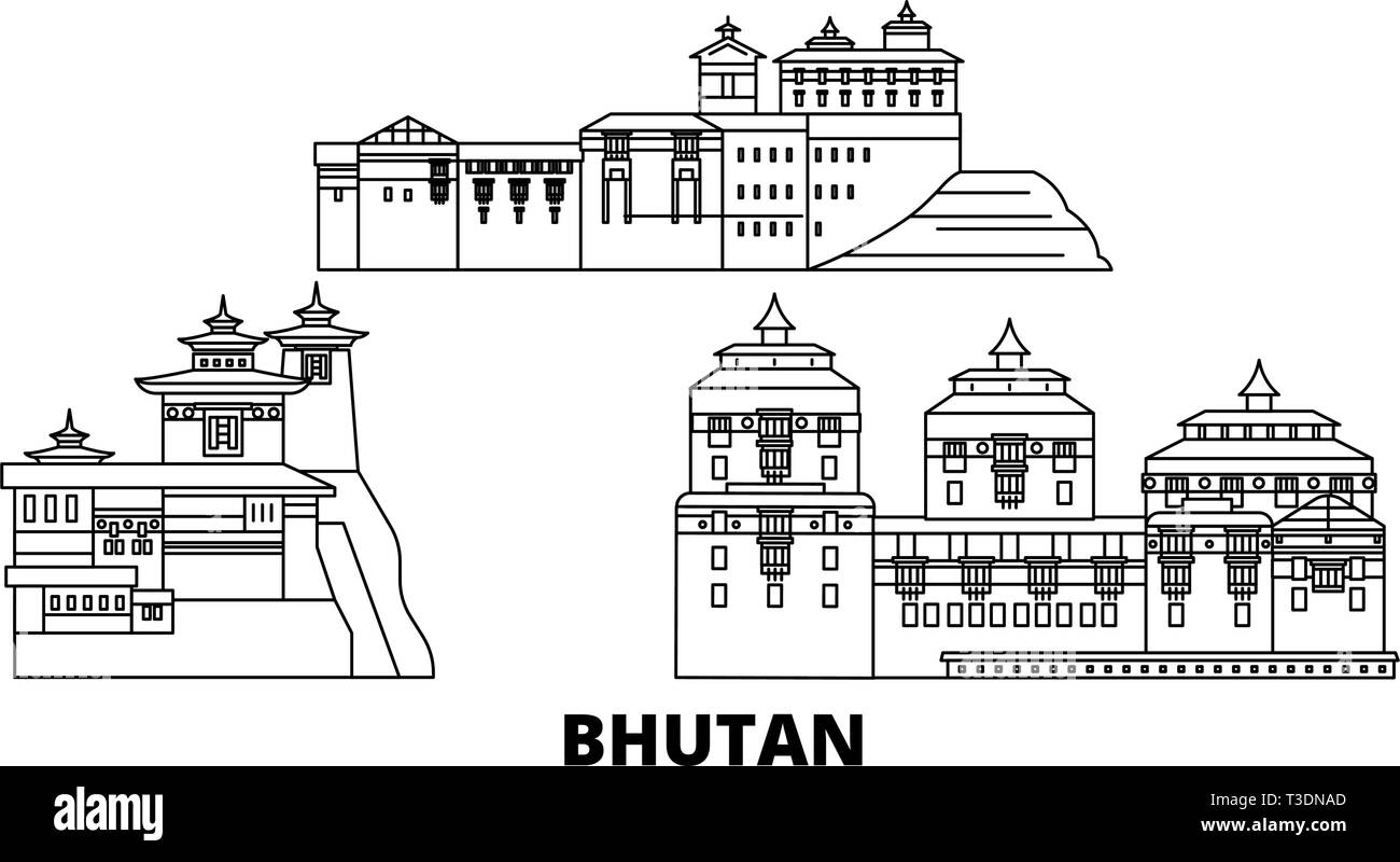Bhutan line travel skyline set. Bhutan outline city vector illustration, symbol, travel sights, landmarks. - Stock Vector