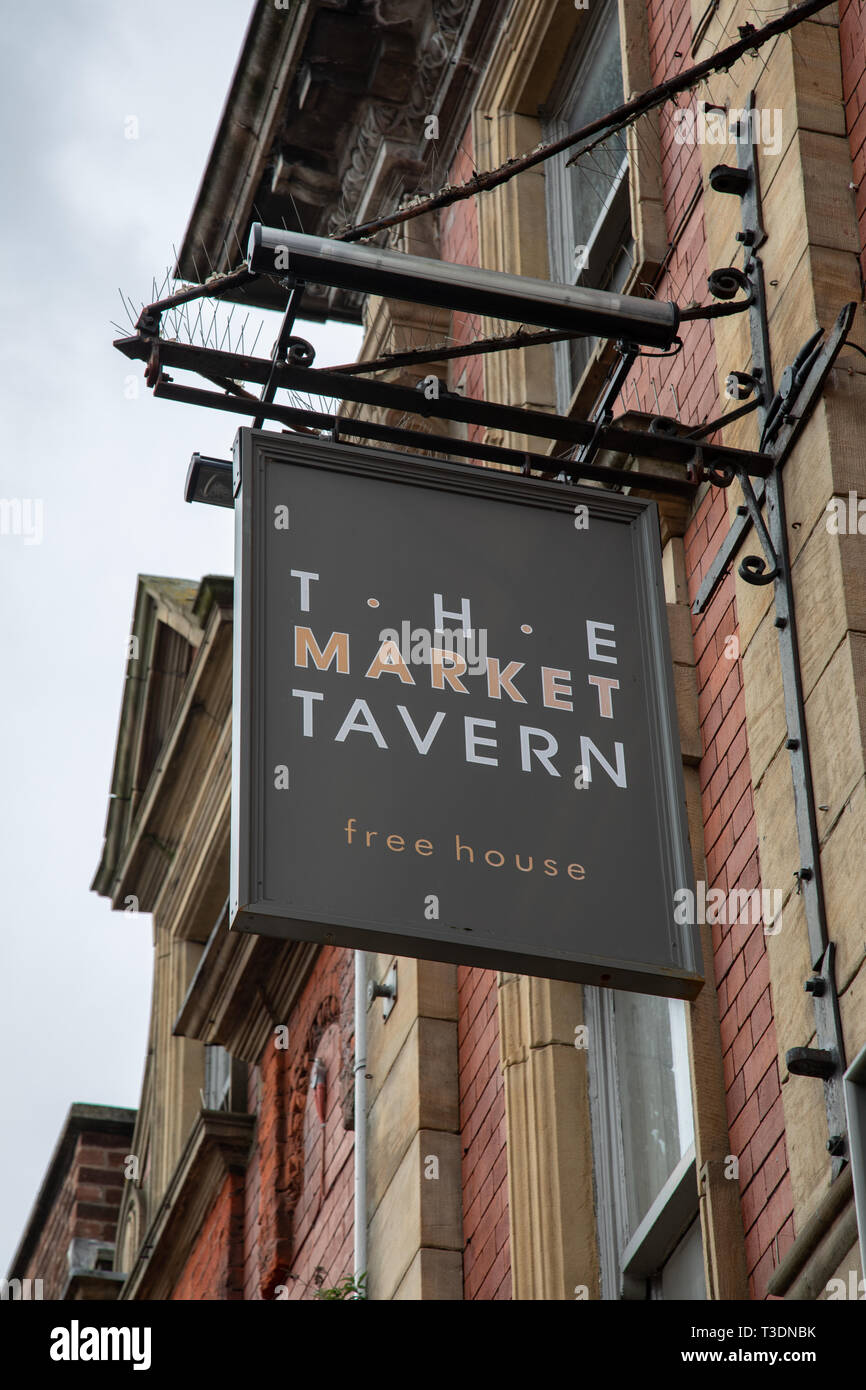 Exterior sign for The Market Tavern public house St Helens  Lancashire March 2019 Stock Photo