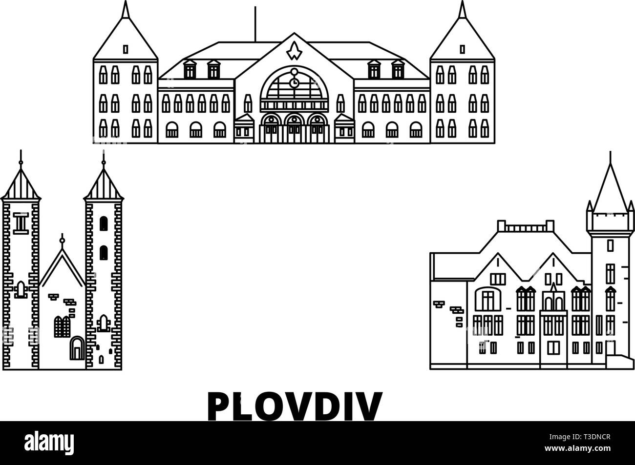 Bulgaria, Plovdiv line travel skyline set. Bulgaria, Plovdiv outline city vector illustration, symbol, travel sights, landmarks. - Stock Vector