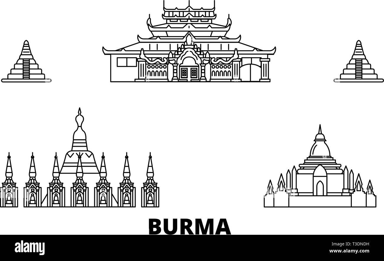 Burma line travel skyline set. Burma outline city vector illustration, symbol, travel sights, landmarks. - Stock Vector