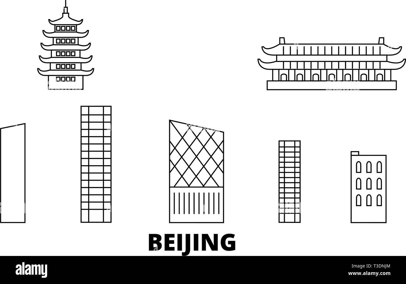 China, Beijing City line travel skyline set. China, Beijing City outline city vector illustration, symbol, travel sights, landmarks. - Stock Vector
