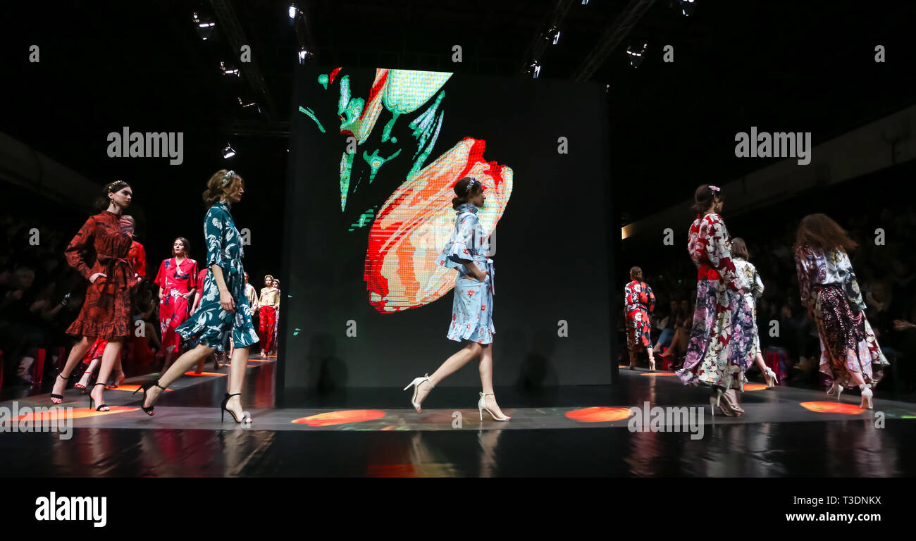 Zagreb, Croatia - March 19, 2019: Models wearing Robert Sever fashion collection on the catwalk at the Bipa Fashion.hr fashion show in Zagreb, Croatia - Stock Image