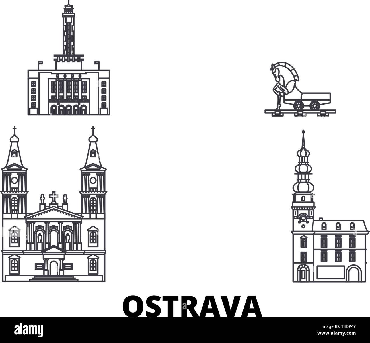 Czech Republic, Ostrava line travel skyline set. Czech Republic, Ostrava outline city vector illustration, symbol, travel sights, landmarks. - Stock Image