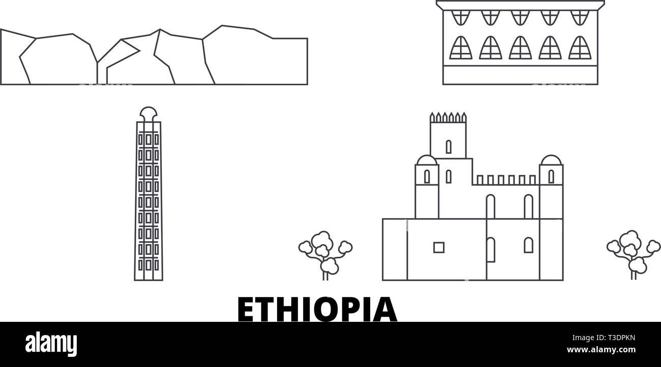 Ethiopia line travel skyline set. Ethiopia outline city vector illustration, symbol, travel sights, landmarks. - Stock Vector