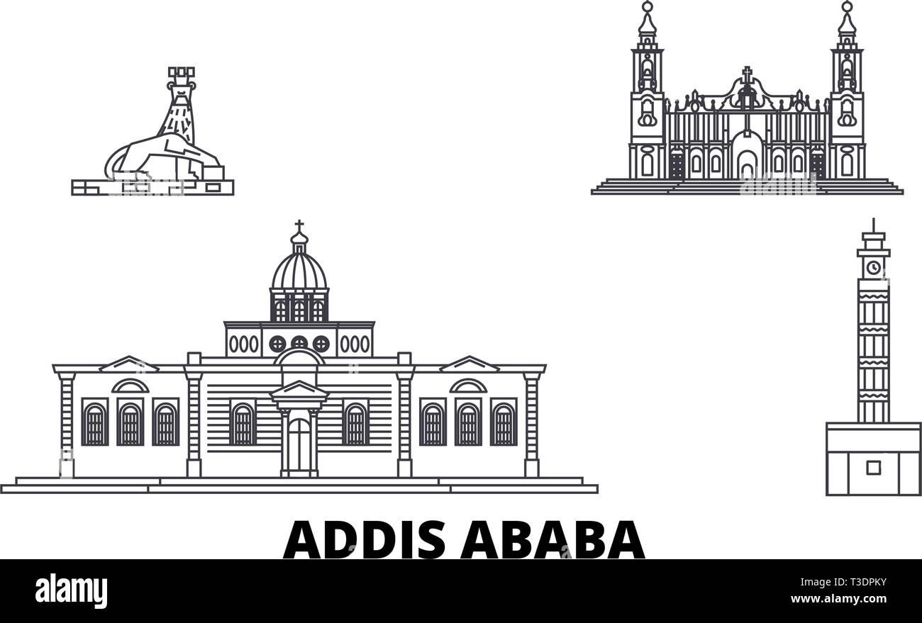 Ethiopia, Addis Ababa line travel skyline set. Ethiopia, Addis Ababa outline city vector illustration, symbol, travel sights, landmarks. - Stock Vector