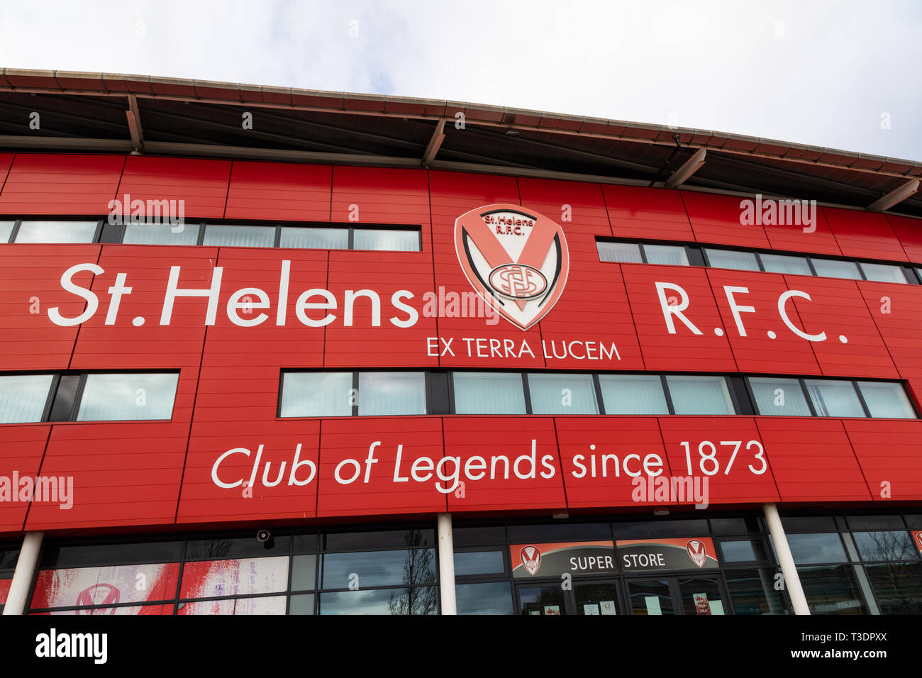 Exterior of main entrance for St Helens Rugby Football Club stadium St Helens Lancashire March 2019 Stock Photo
