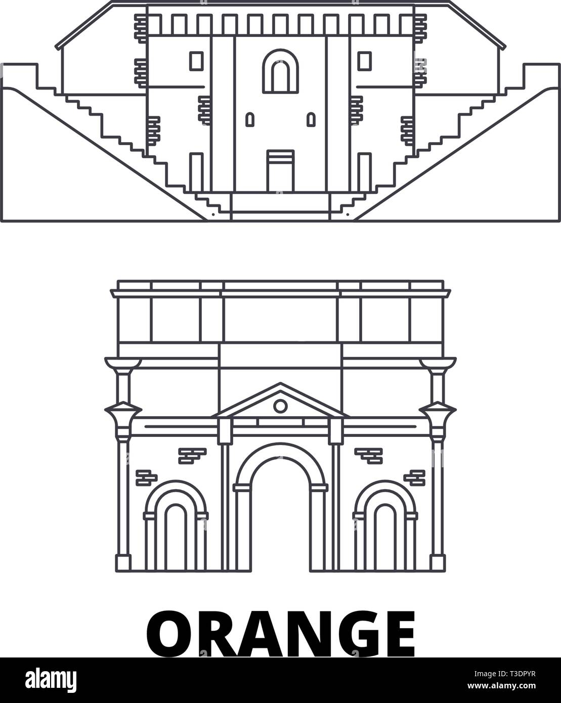 France, Orange  line travel skyline set. France, Orange  outline city vector illustration, symbol, travel sights, landmarks. - Stock Vector