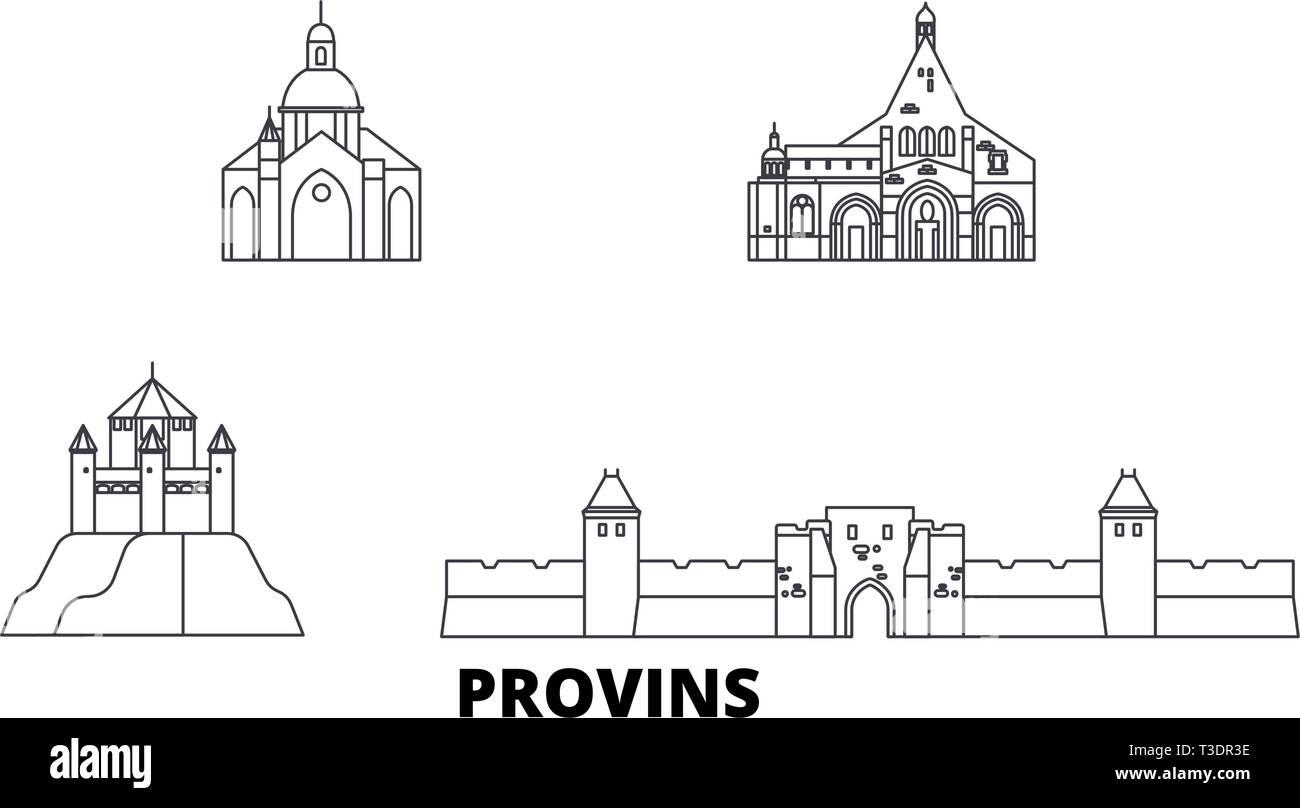 France, Provins line travel skyline set. France, Provins outline city vector illustration, symbol, travel sights, landmarks. - Stock Vector