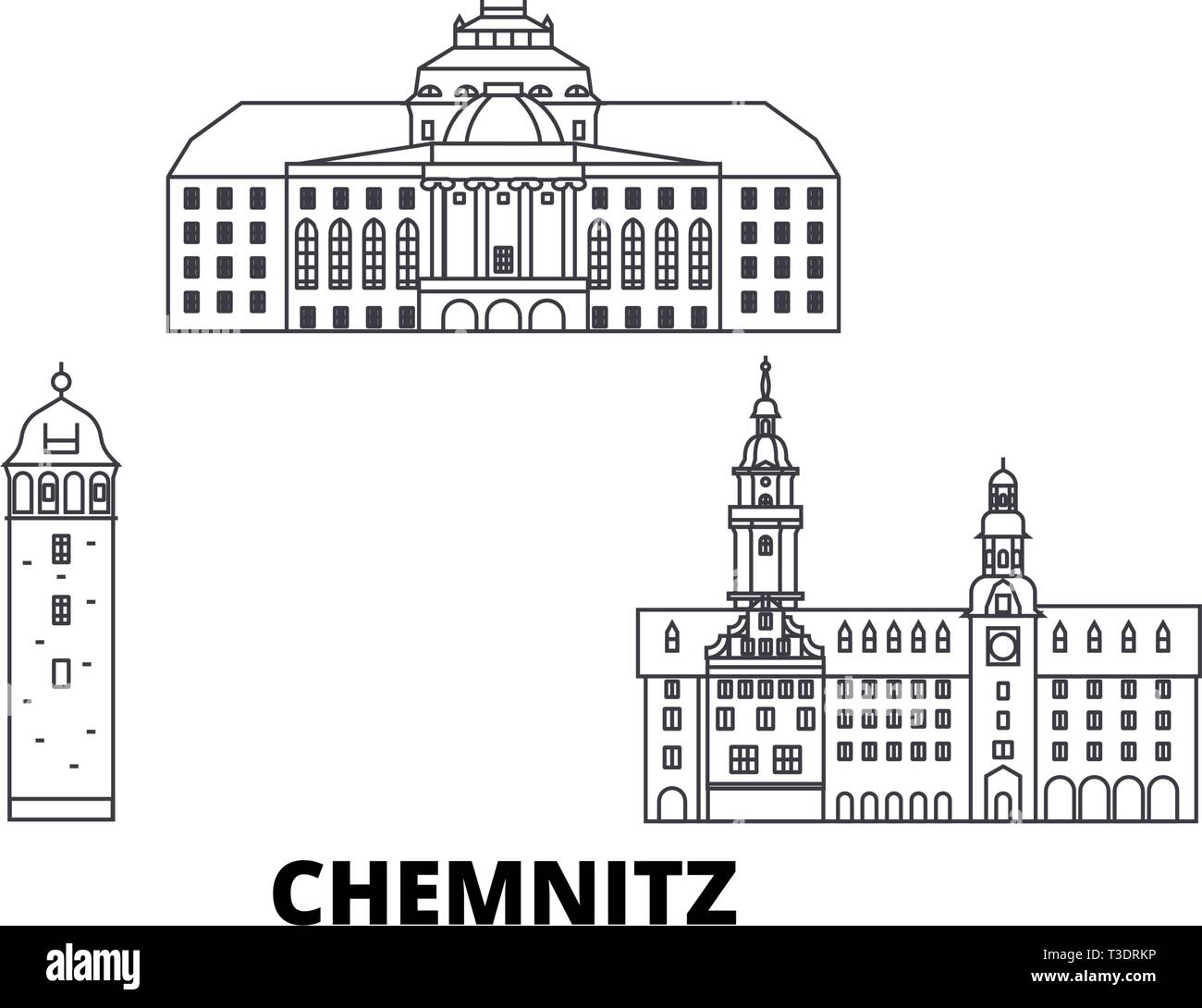Germany, Chemnitz line travel skyline set. Germany, Chemnitz outline city vector illustration, symbol, travel sights, landmarks. - Stock Vector