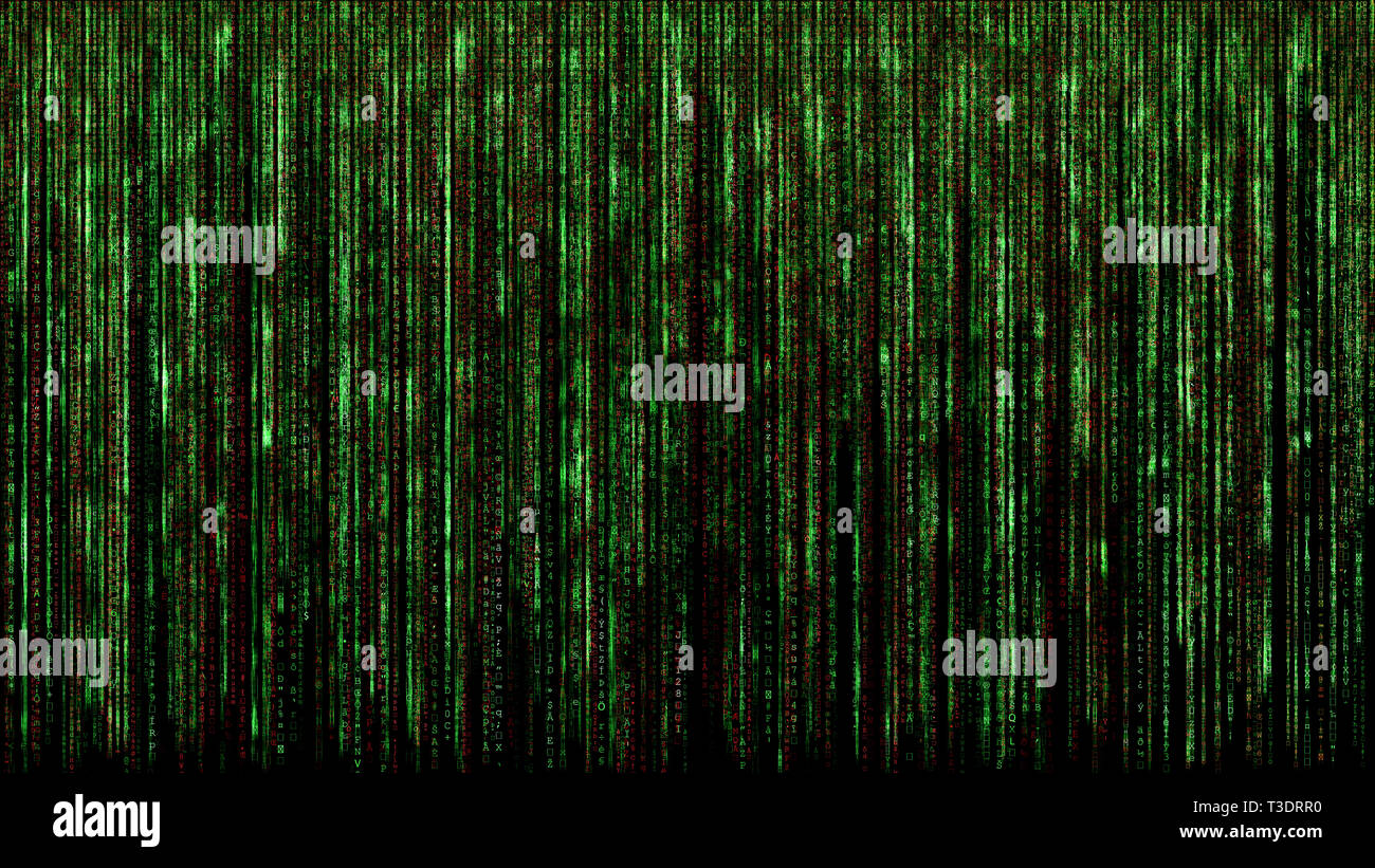 red green binary matrix code abstract computer hacker digital network concept black background - Stock Image
