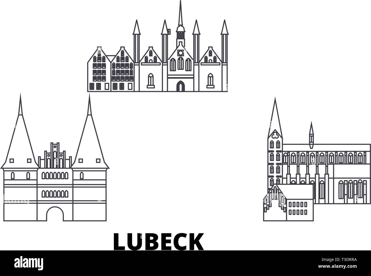Germany, Lubeck line travel skyline set. Germany, Lubeck outline city vector illustration, symbol, travel sights, landmarks. - Stock Vector
