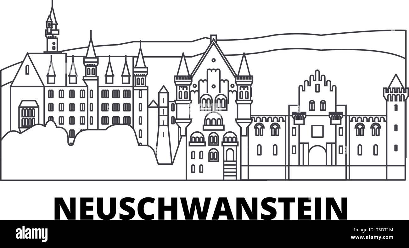 Germany, Neuschwanstein line travel skyline set. Germany, Neuschwanstein outline city vector illustration, symbol, travel sights, landmarks. - Stock Image