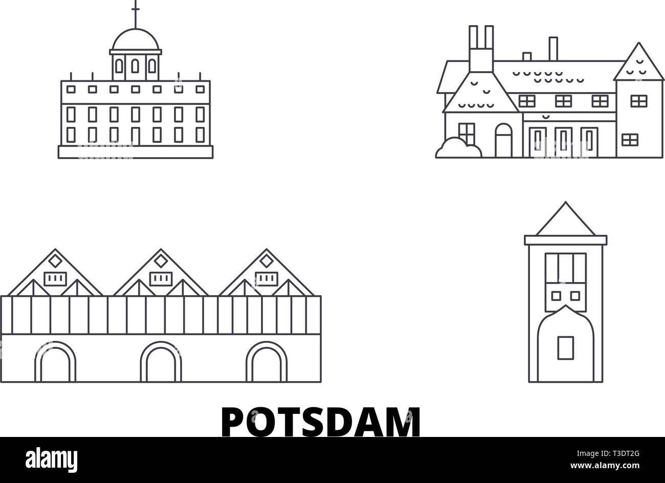 Germany, Potsdam line travel skyline set. Germany, Potsdam outline city vector illustration, symbol, travel sights, landmarks. - Stock Vector