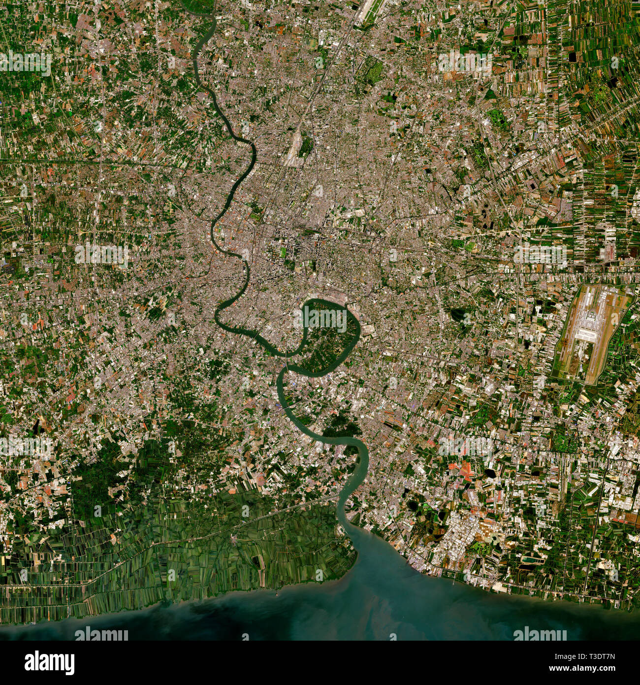 Bangkok in Thailand seen from space - contains modified Copernicus Sentinel Data (2019) Stock Photo