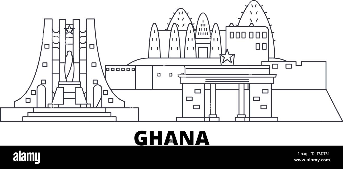 Ghana line travel skyline set. Ghana outline city vector illustration, symbol, travel sights, landmarks. - Stock Vector