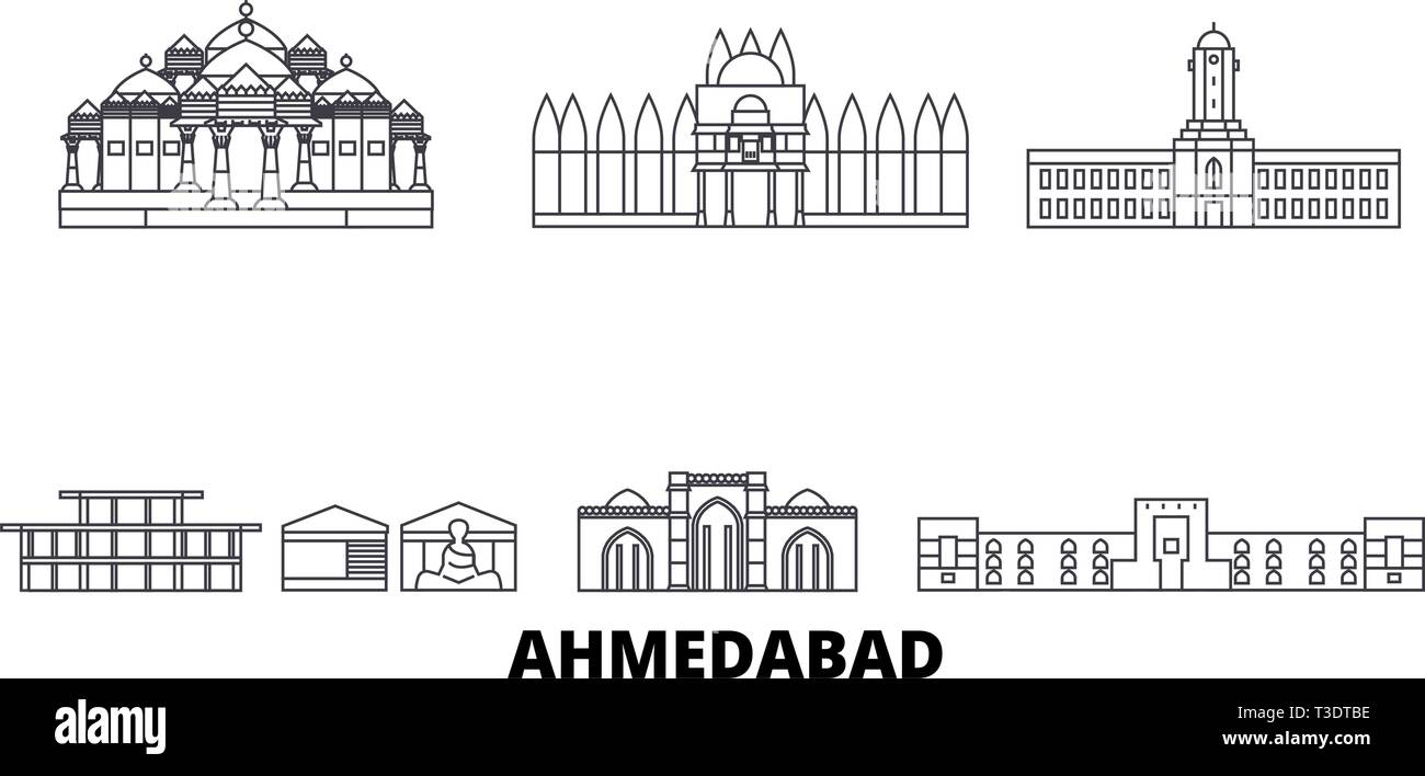 India, Ahmedabad line travel skyline set. India, Ahmedabad outline city vector illustration, symbol, travel sights, landmarks. - Stock Vector