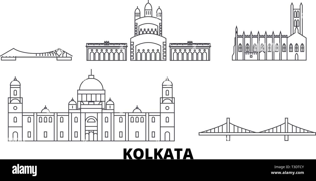 India, Kolkata line travel skyline set. India, Kolkata outline city vector illustration, symbol, travel sights, landmarks. - Stock Vector