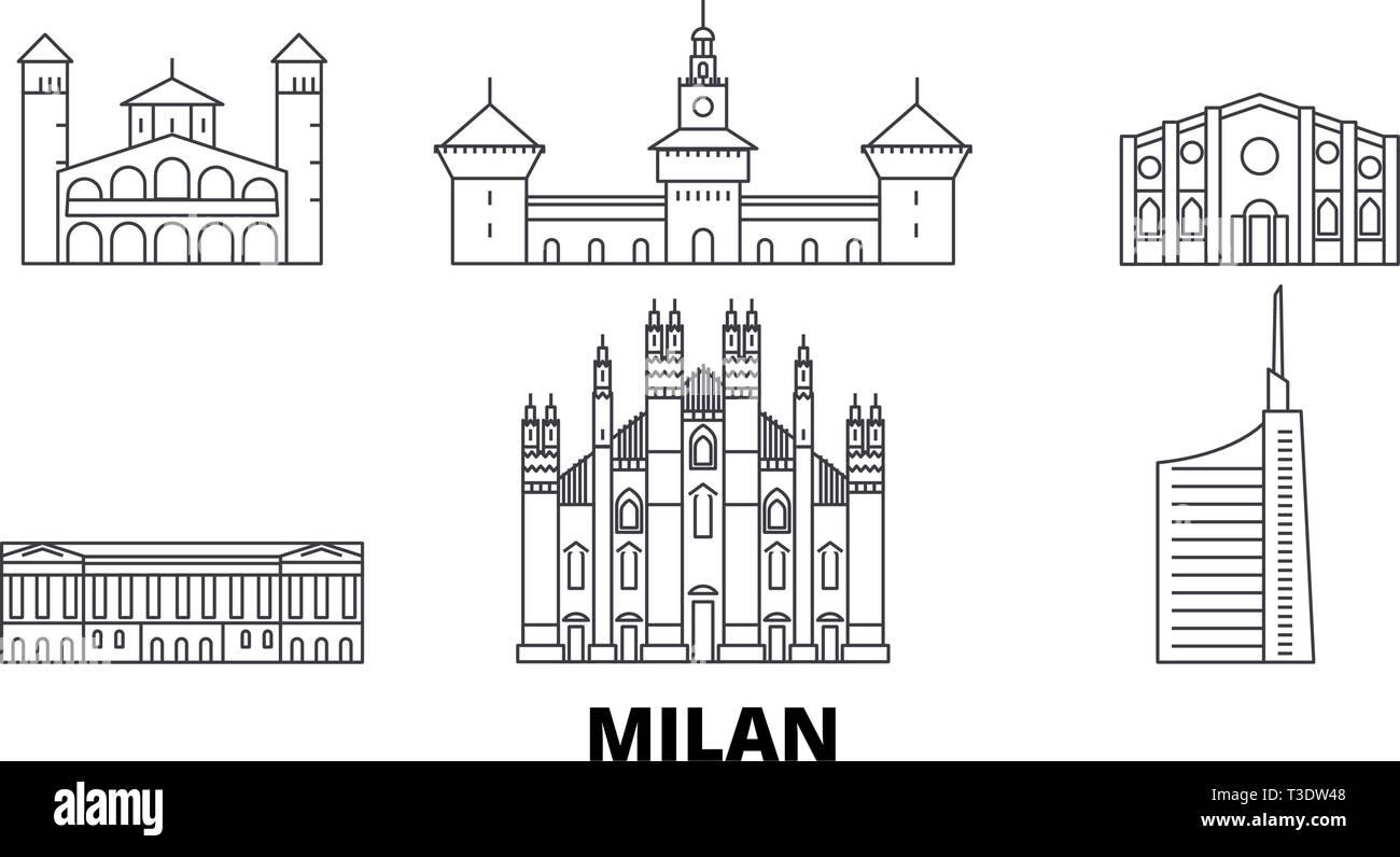 Italy, Milan line travel skyline set. Italy, Milan outline city vector illustration, symbol, travel sights, landmarks. - Stock Vector