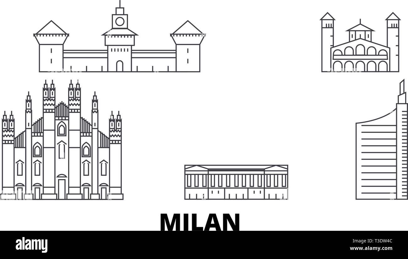 Italy, Milan City line travel skyline set. Italy, Milan City outline city vector illustration, symbol, travel sights, landmarks. - Stock Vector