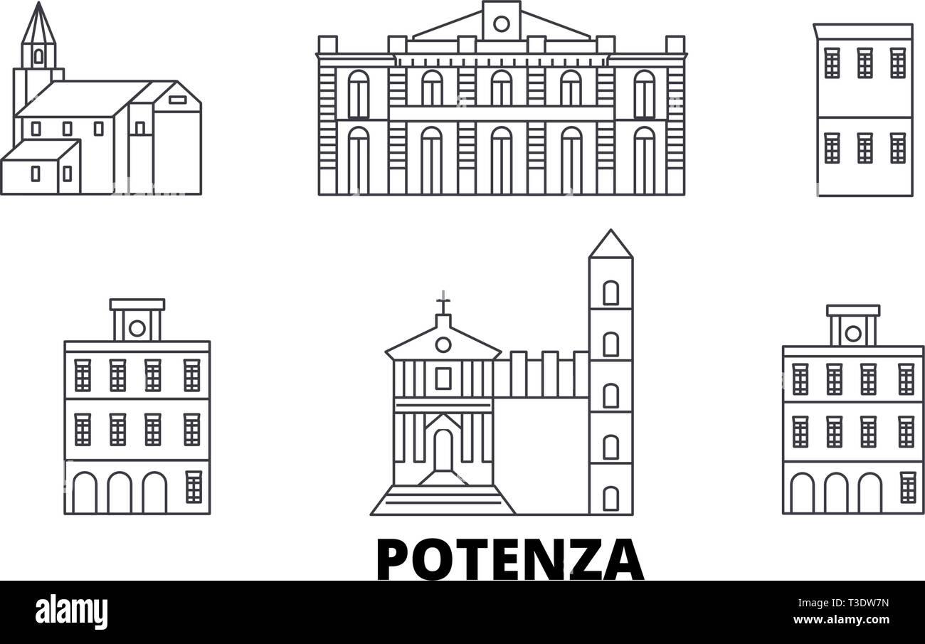 Italy, Potenza line travel skyline set. Italy, Potenza outline city vector illustration, symbol, travel sights, landmarks. Stock Vector