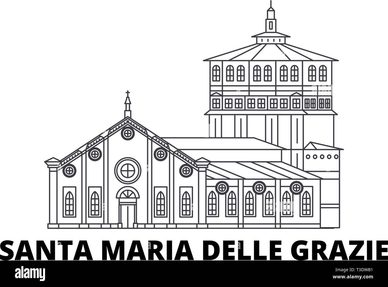 Italy, Santa Maria Delle Grazie line travel skyline set. Italy, Santa Maria Delle Grazie outline city vector illustration, symbol, travel sights - Stock Vector