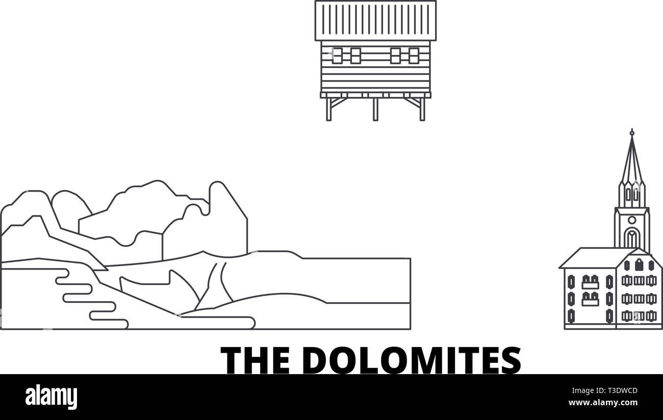 Italy, The Dolomites  line travel skyline set. Italy, The Dolomites  outline city vector illustration, symbol, travel sights, landmarks. - Stock Vector