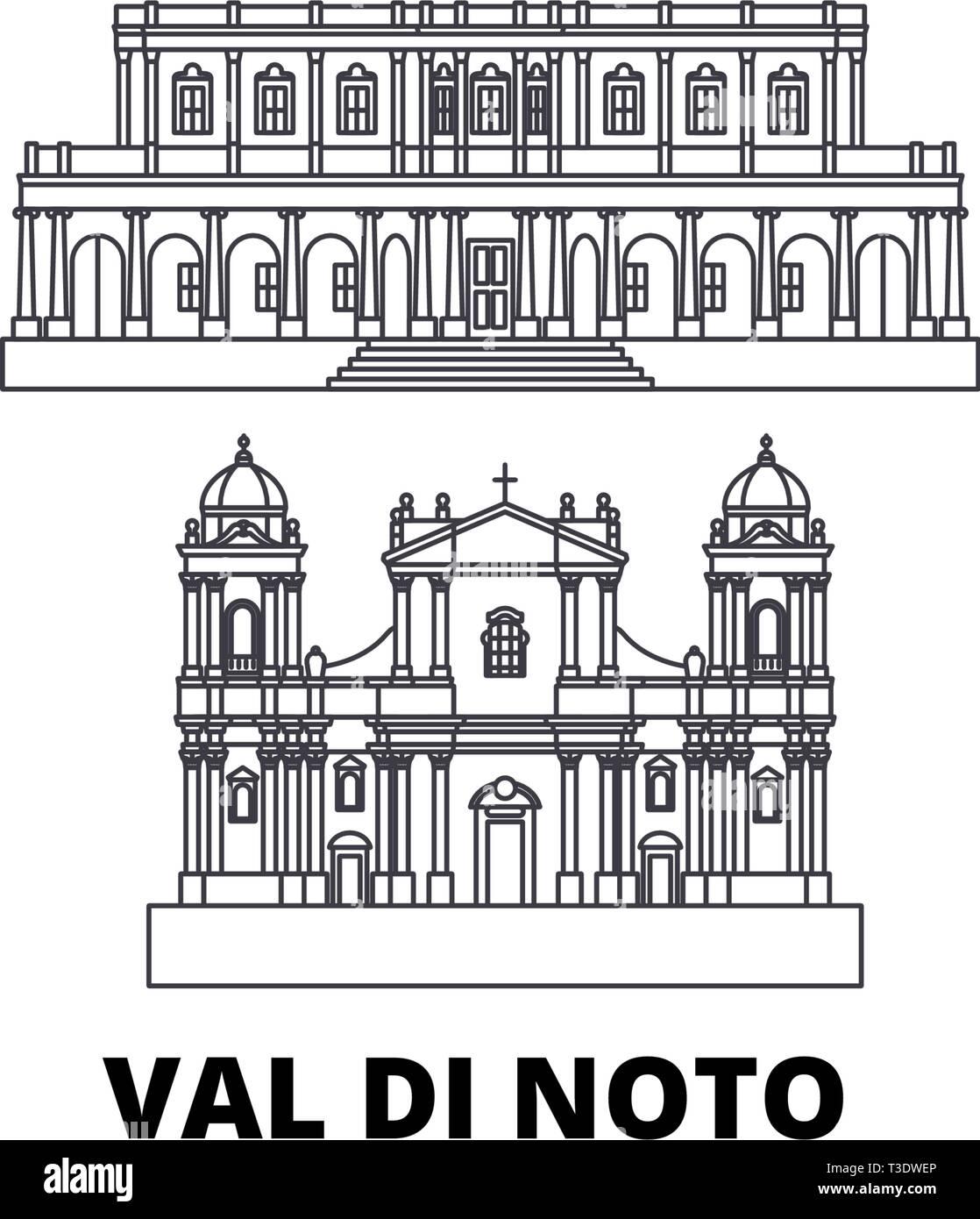 Italy, Val Di Noto line travel skyline set. Italy, Val Di Noto outline city vector illustration, symbol, travel sights, landmarks. - Stock Vector