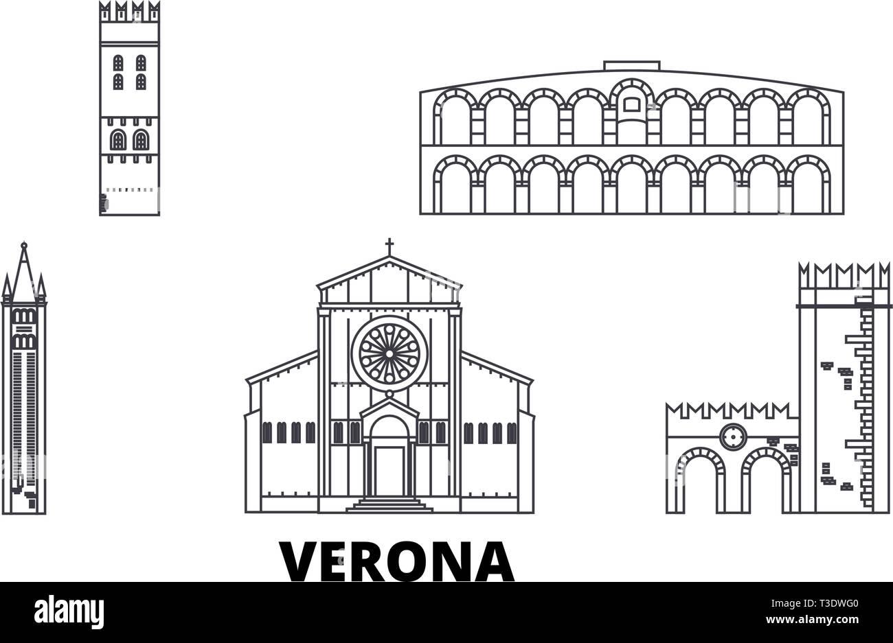 Italy, Verona line travel skyline set. Italy, Verona outline city vector illustration, symbol, travel sights, landmarks. - Stock Vector