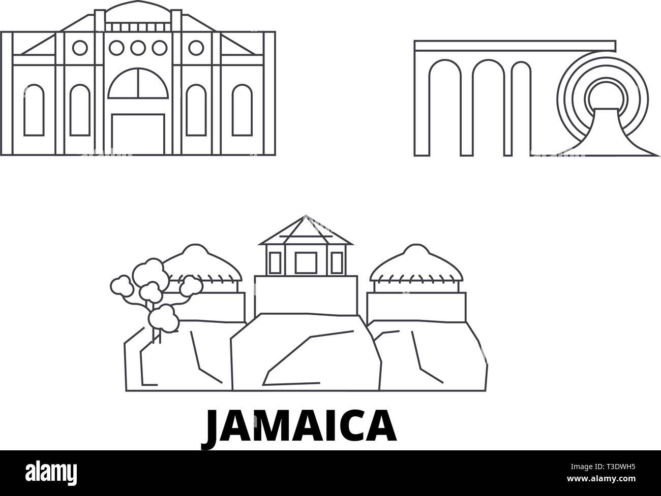 Jamaica line travel skyline set. Jamaica outline city vector illustration, symbol, travel sights, landmarks. - Stock Vector