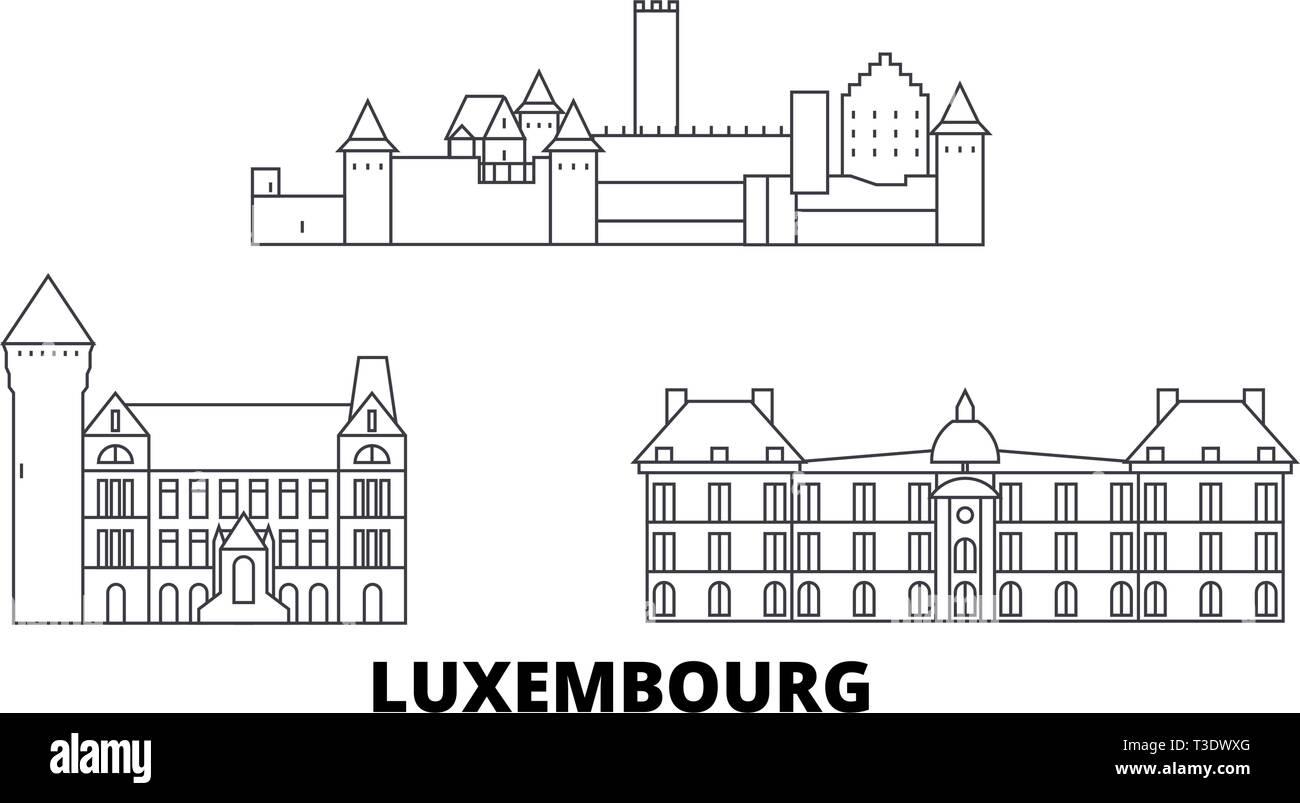 Luxembourg line travel skyline set. Luxembourg outline city vector illustration, symbol, travel sights, landmarks. - Stock Vector